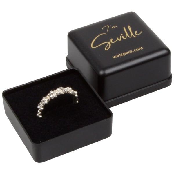 Seville sieradendoosje voor ring Mat zwart kunststof/ Zwart foam 40 x 40 x 33