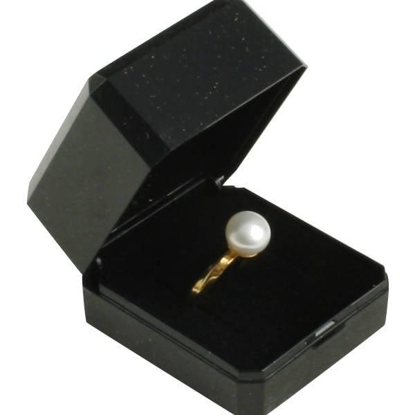 Verona sieradendoosje voor ring / trouwringen Zwart kunststof met gouden bies/ Zwart foam 45 x 50 x 34