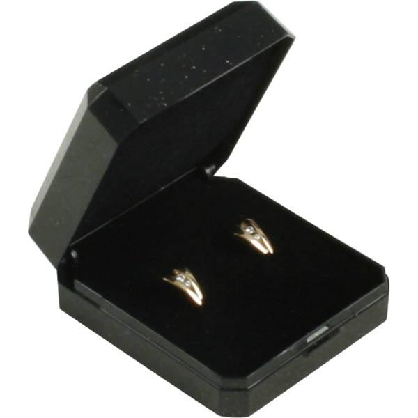 Verona sieradendoosje voor oorbellen/ oorknopjes Zwart kunststof met gouden bies/ Zwart foam 45 x 50 x 22