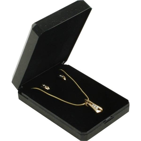 Verona écrin pour grand pendentif/ parure Plastique noir pailleté, liseré doré/ Mousse noire 60 x 85 x 23