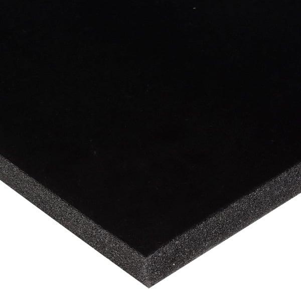 Foam bekleed met velours, 15 mm dik Zwart Velours / Zwart Foam 15 x 360