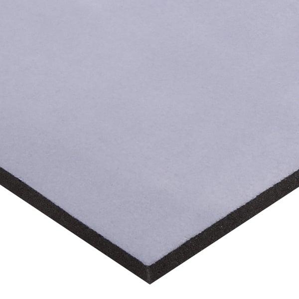 Foam bekleed met velours, 15 mm dik Grijs Velours / Zwart Foam 15 x 360