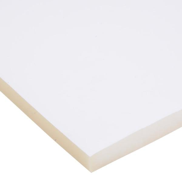 Mousse recouverte de velours, 15 mm d'épaisseur Velours blanc / mousse blanche 15 x 360