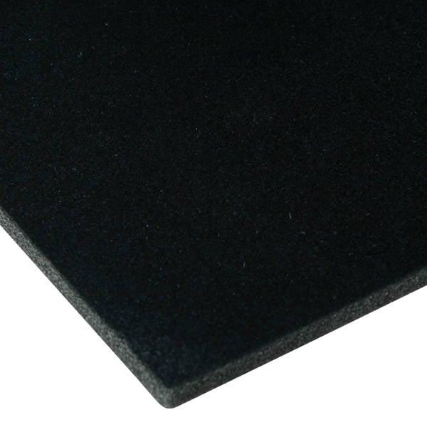 Foam bekleed met velours, 7 mm dik Zwart Velours / Zwart Foam 7 x 470
