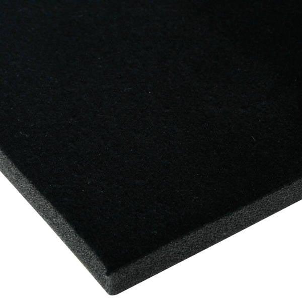 Foam bekleed met velours, 10 mm dik Zwart Velours / Zwart Foam 10 x 470