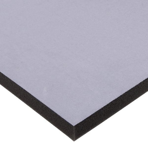Mousse recouverte de velours, 10 mm d'épaisseur Velours Gris / Mousse Noir 10 x 470