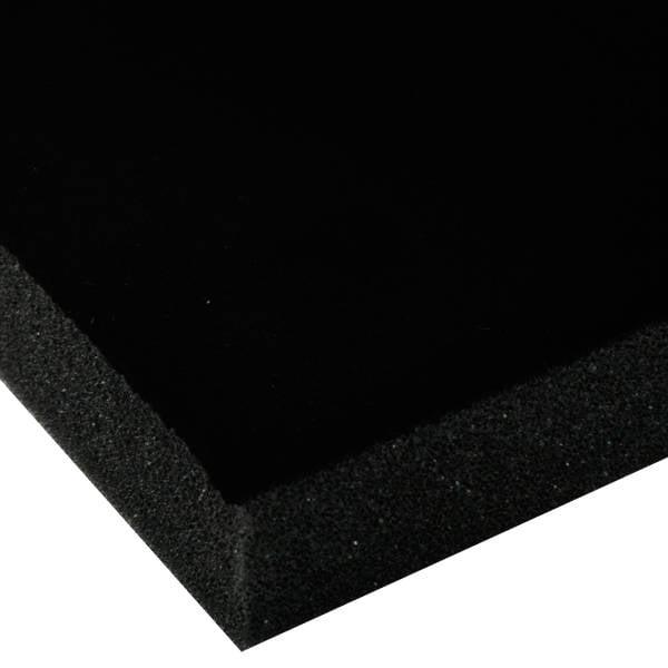 Foam bekleed met velours, 25 mm dik Zwart Velours / Zwart Foam 25 x 470