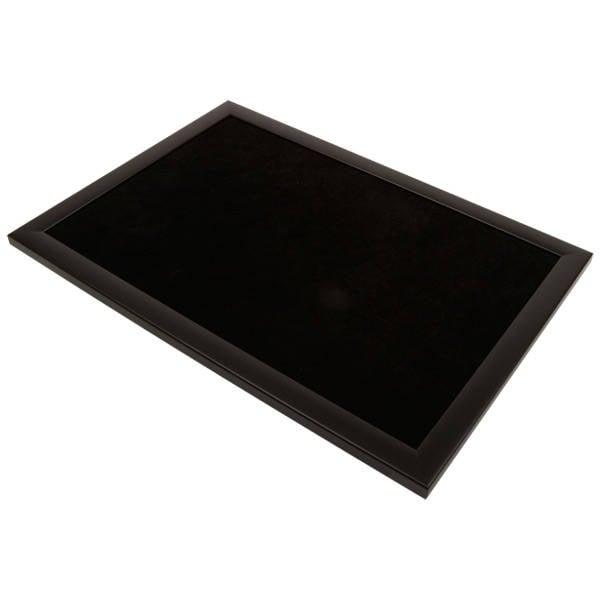 Presentatietableau vlak, voor tonen van sieraden Zwarte frame/Zwart velour 270 x 390 x 14