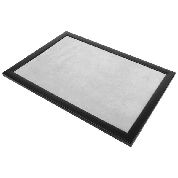 Presentatietableau vlak, voor tonen van sieraden Zwarte frame/ Lichtgrijze velours 270 x 390 x 14