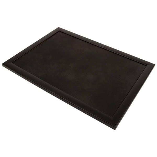 Plateau de présentation pour bijoux Cadre en bois noir mat/ Coussin similicuir noir 270 x 390 x 14