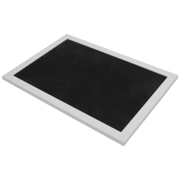 Plateau de présentation pour bijoux Cadre en bois blanc mat/ Coussin similicuir noir 270 x 390 x 14