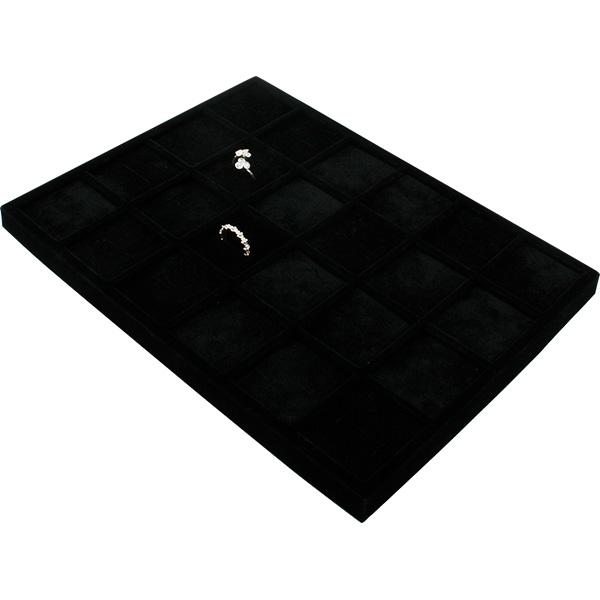 Insertion pour petit plateau : 24 bagues larges Cloison noire / Coussins en velours noir 207 x 274