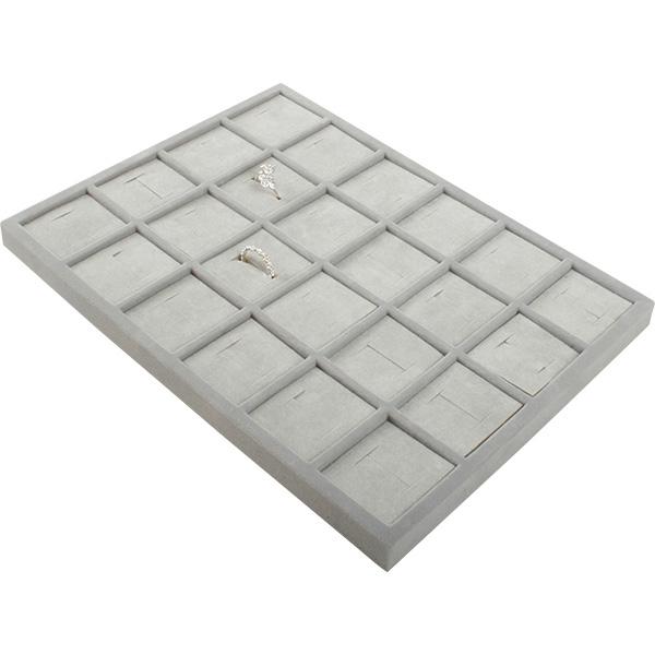 Insertion pour petit plateau : 24 bagues larges Cloison gris clair/ Coussins en velours gris clair 207 x 274