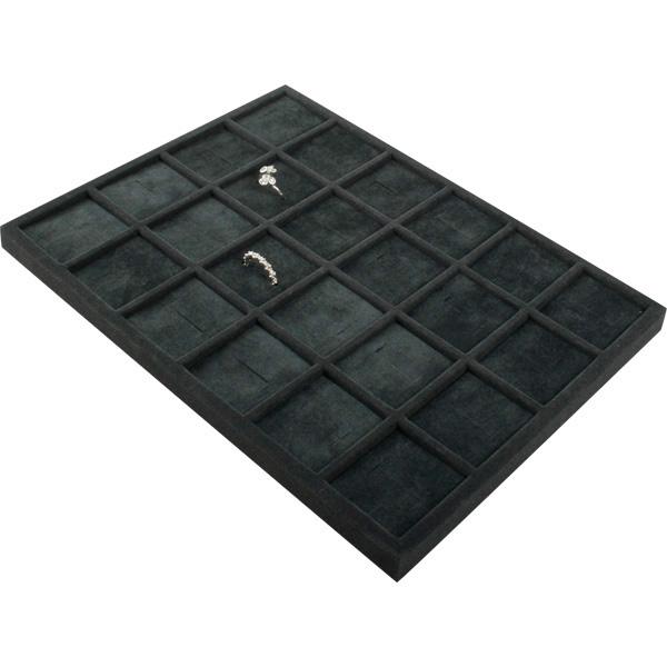 Insertion pour petit plateau : 24 bagues larges Cloison gris foncé/ Coussins en velours gris foncé 207 x 274