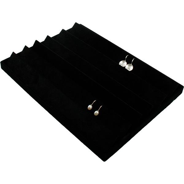 Insertion pour petit plateau : 54 paires de BO Cloison noire / Coussins en velours noir 207 x 274