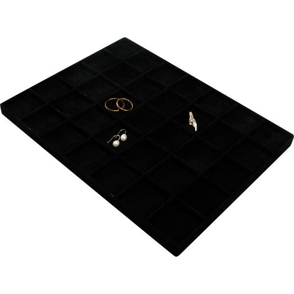 Insert voor Klein Tableau: 35x Universeel Vakje Zwarte Partitie/ Zwarte velours kussens 207 x 274