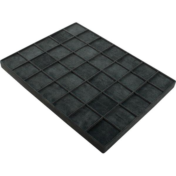 Insertion pour petit plateau : 35 bagues Cloison gris foncé/ Coussins en velours gris foncé 207 x 274