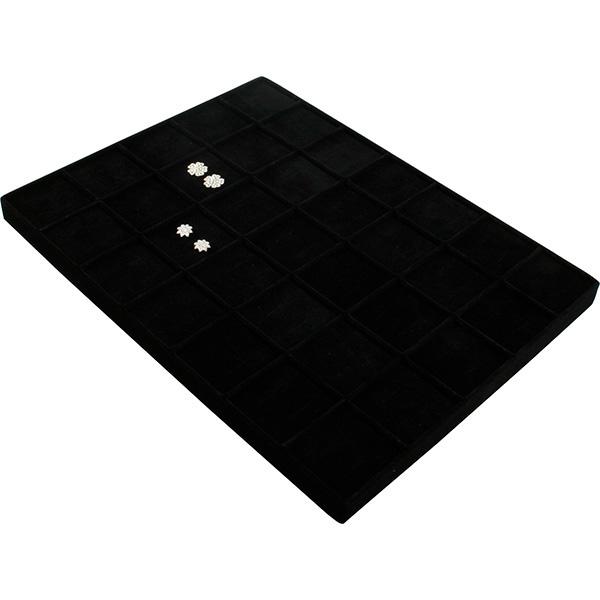 Insertion petit plateau : 35 boucles d'oreilles Cloison noire / Coussins en velours noir 207 x 274