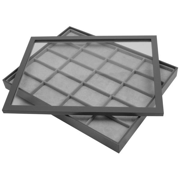 Couvercle transparent pour petit plateau Similicuir gris, avec fenêtre 284 x 216 x 12