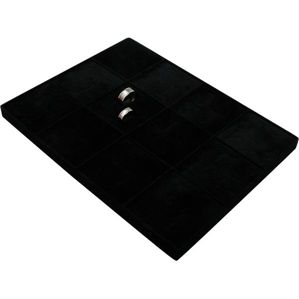 Insert voor Klein Tableau: 12x Trouwringen Zwarte Partitie/ Zwarte velours kussens 207 x 274