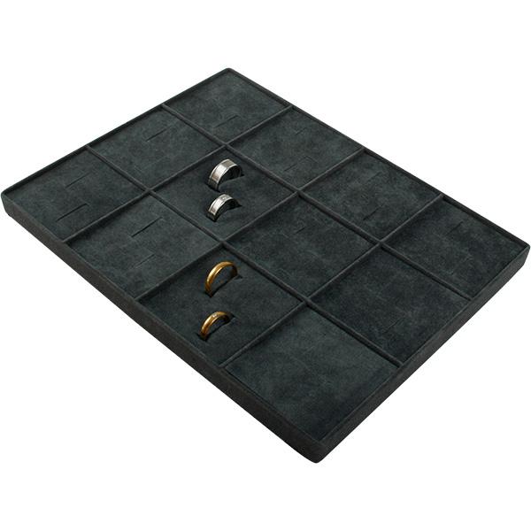 Insertion pour petit plateau : 12x alliances Cloison gris foncé/ Coussins en velours gris foncé 207 x 274
