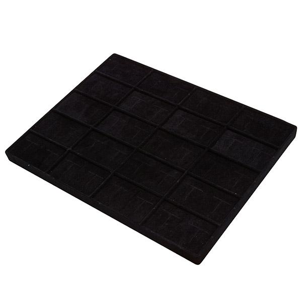 Insert voor Klein Tableau: 20 paar Manchetknopen Zwarte Partitie/ Zwarte velours kussens 284 x 216