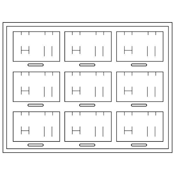Plateau présentation 9 x parures 3 pièces H + place chiffres/symboles cubiques emboîtables 284 x 216 x