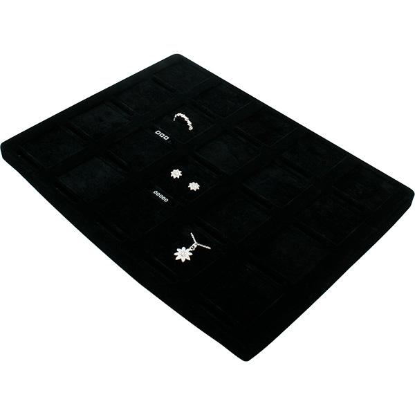 Insert voor Klein Tableau: 20x Ring/Oorbel/Hanger Zwarte Partitie/ Zwarte velours kussens 207 x 274
