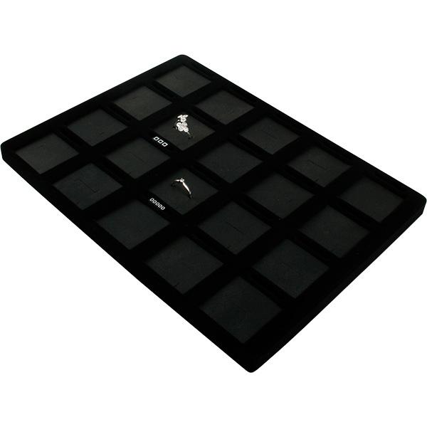 Insert voor Klein Tableau: 20x Ring/Oorbel/Hanger Zwarte Partitie/ Zwarte Nabuca kunstleer kussens 207 x 274