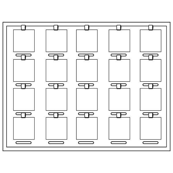 Plateau 20 pendentifs / perles, luxe H + place chiffres/symboles cubiques emboîtables 284 x 216 x