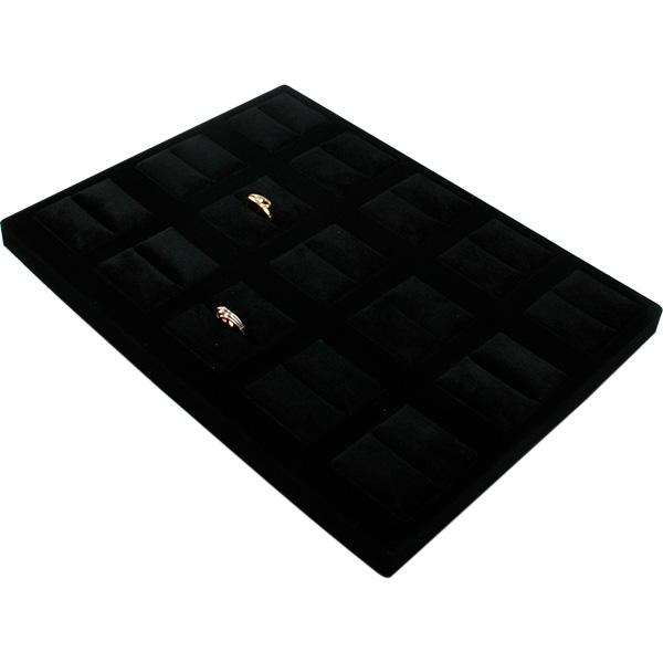 Insert voor Klein Tableau: 15x Ring, luxe Zwarte Partitie/ Zwarte velours kussens 207 x 274