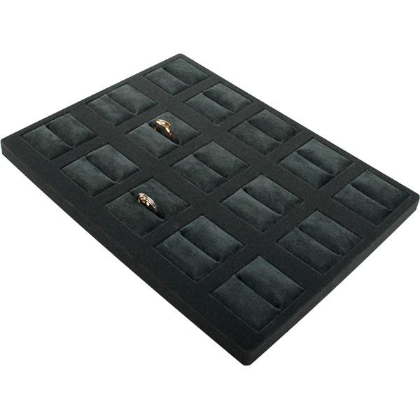 Insertion pour petit plateau : 15 bagues Cloison gris foncé/ Coussins en velours gris foncé 207 x 274