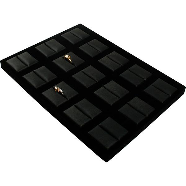 Insertion pour petit plateau : 15 bagues Cloison noire / Coussins en similicuir noir 207 x 274