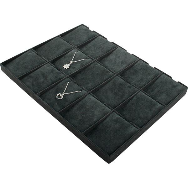 Insert voor Klein Tableau: 15x Ketting met hanger Donkergrijs Partitie/ Donkergrijs velours kussens 207 x 274