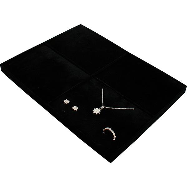Insert voor Klein Tableau: 4x Sieradenset Zwarte Partitie/ Zwarte velours kussens 207 x 274