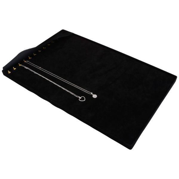 Insertion pour grand plateau : 13 colliers Cloison noire / Coussins en velours noir 274 x 424