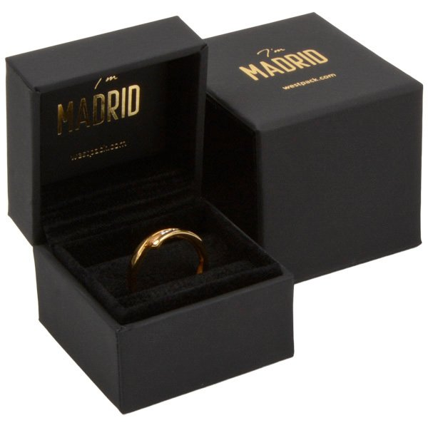 Madrid sieradendoosje voor ring Mat zwart soft-touch / Zwart velours interieur 49 x 49 x 40