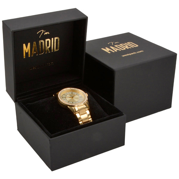 Madrid sieradendoosje voor horloge / armring Mat zwart soft-touch / Zwart velours interieur 100 x 100 x 74 88 x 82 x 38 mm
