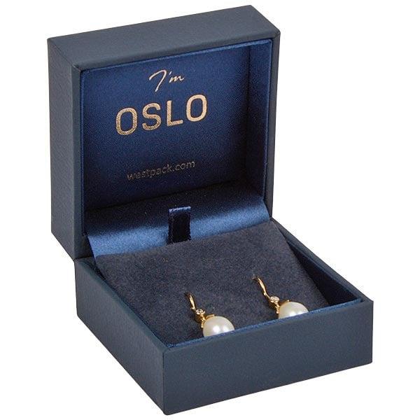 Oslo sieradendoosje voor oorbellen/ hanger Donkerblauw kunstleer/ Donkerblauw velours insert 64 x 64 x 39