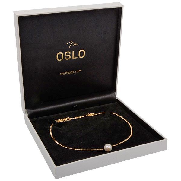 Oslo écrin pour collier / parure, petit Similicuir blanc/ Intérieur velours noir 160 x 160 x 35
