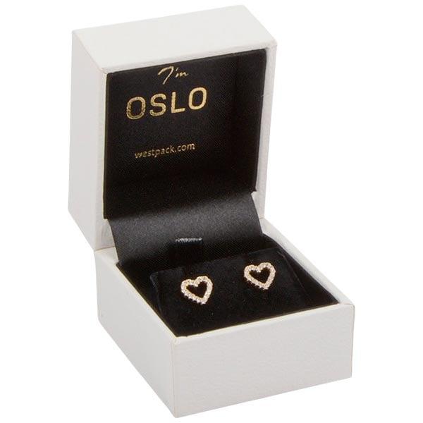 Oslo - Ecrin Boucles d'oreilles / Bague Blanc façon cuir grainé / Intérieur velours noir 46 x 52 x 43