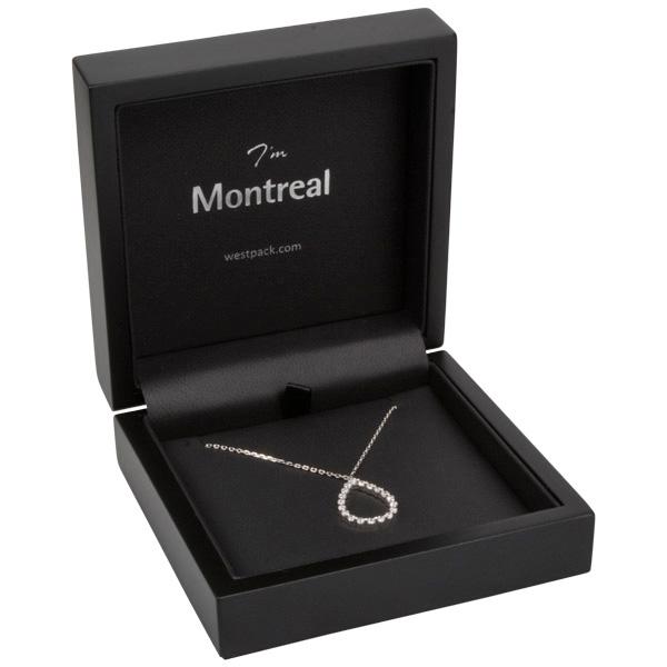 Montreal sieradendoosje voor armring/ hanger Mat zwart hout/ Zwart Nabuca interieur 100 x 100 x 41