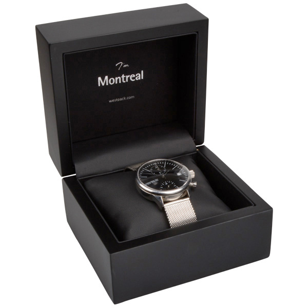 Montreal sieradendoosje voor horloge Mat zwart hout/ Zwart Nabuca interieur 125 x 115 x 87