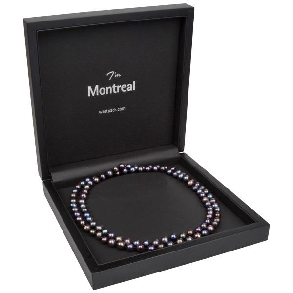 Montreal sieradendoosje voor collier / choker Mat zwart hout/ Zwart Nabuca interieur 200 x 200 x 49