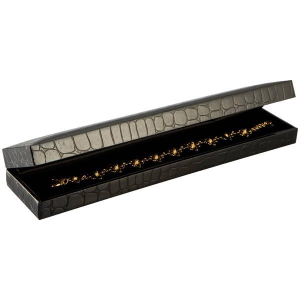 Sydney sieradendoosje voor armband Zwart croco kunstleer / Zwart velours interieur 227 x 50 x 26