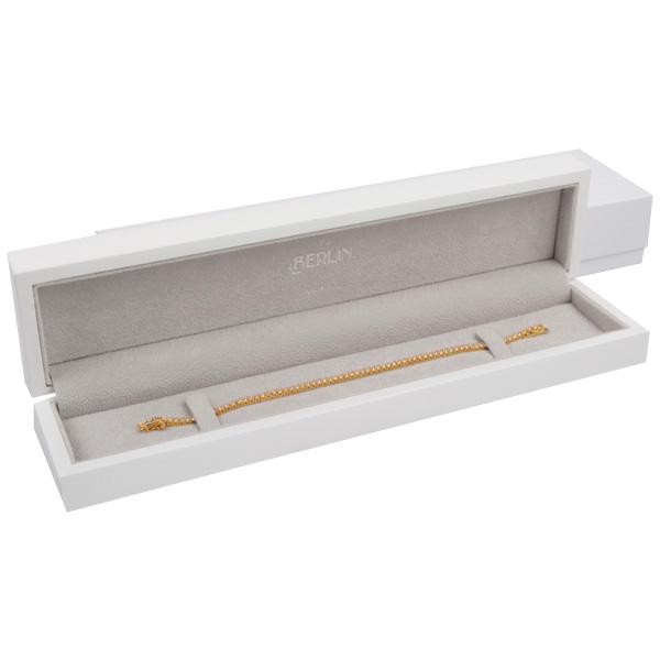 Berlin sieradendoosje voor armband Glanzend wit hout/ LichtGrijs velours interieur 57 x 250 x 32