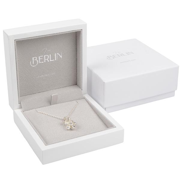 Berlin écrin pour bracelet/grand pendentif Bois blanc laqué / Intérieur velours gris clair 90 x 90 x 36