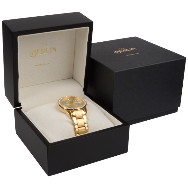 Berlin sieradendoosje voor horloge Mat zwart hout/ Creme velours interieur 110 x 110 x 80