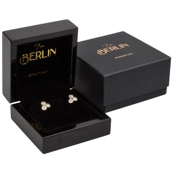 Berlin sieradendoosje voor oorbellen / hanger Glanzend zwart hout/ Zwart velours interieur 70 x 70 x 36
