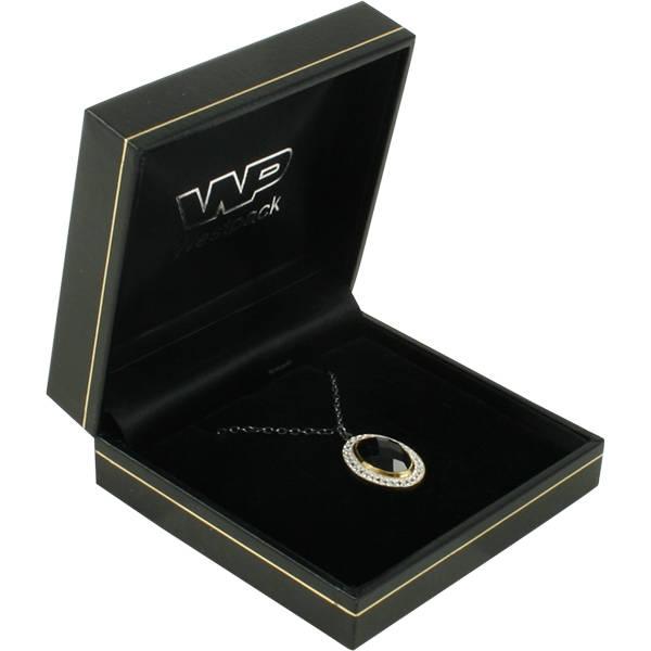 Bombay écrin pour bracelet/grand pendentif Similicuir noir, liseré doré/ Intérieur noir 85 x 81 x 32